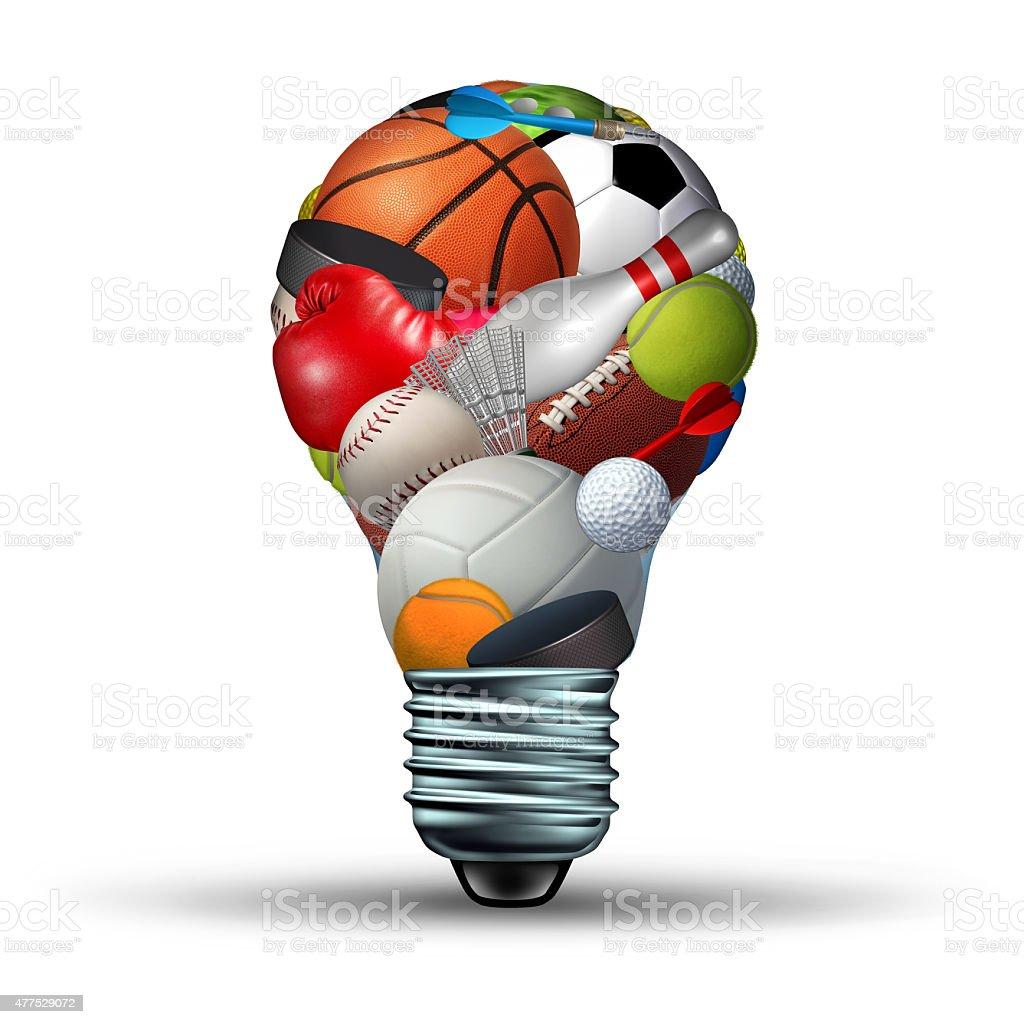 Sports activity ideas concept as a lightbulb shape on a white...