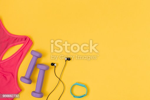 istock Sports and fitness flat lay. 956662732