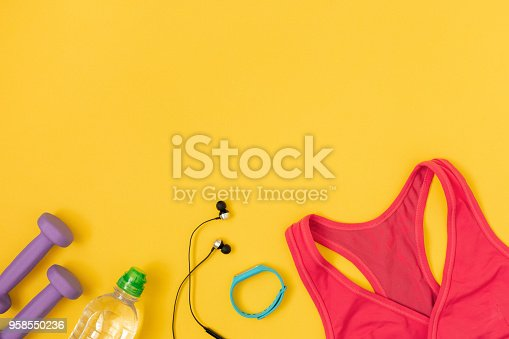 istock Sports and fitness flat lay. 958550236