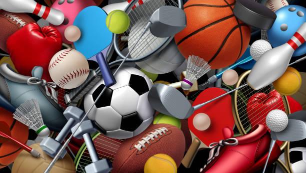 sport en spel achtergrond - sportartikelen stockfoto's en -beelden