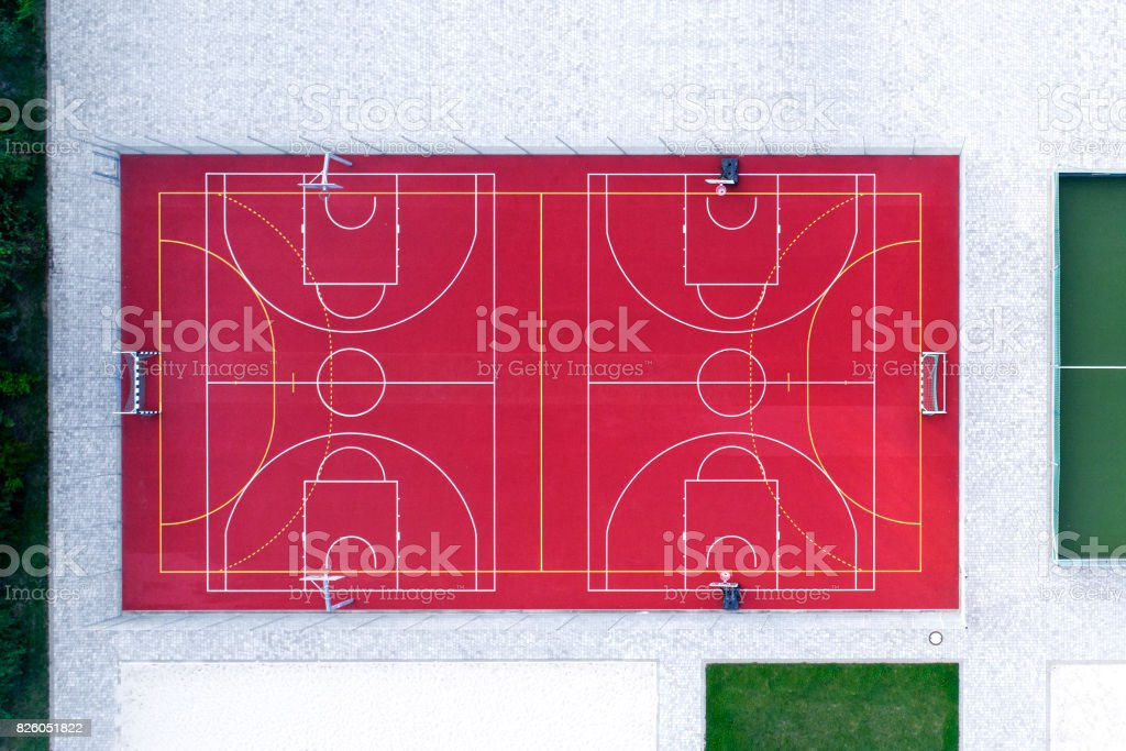 Sports area, various fields - aerial view stock photo