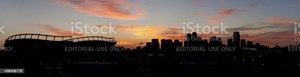 Sports Authority Field and downtown Denver stock photo