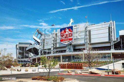 Denver, USA - April 30, 2014: Sports Authority Field at Mile High in Denver, Colorado. It's a multi-purpose arena in Denver, Colorado, United States.