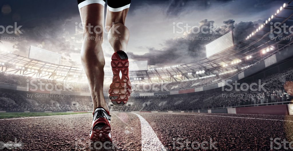 Sports background. Runner feet running on 3d render stadium closeup on shoe. Dramatic picture. stock photo