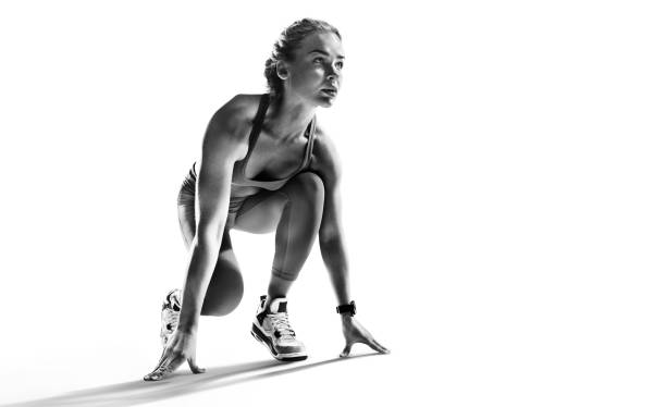 Sports background. Runner on the start. Black and white image isolated on white. Sport backgrounds passion stock pictures, royalty-free photos & images