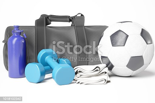 istock Sports bag and soccer ball with sports equipment 1018102342