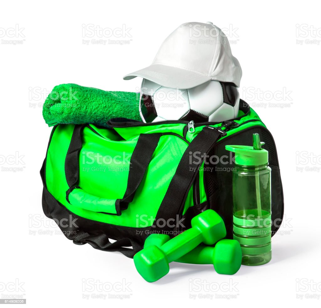 Sports bag with sports equipment stock photo