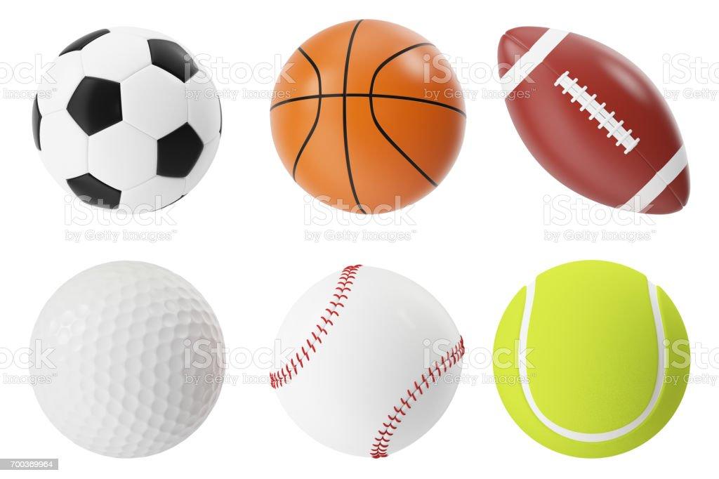 Sports balls 3d illustration set. Basketball, soccer, tennis, football, baseball and golf