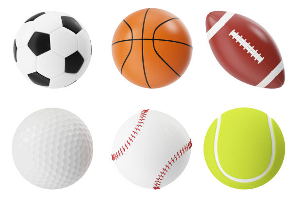 sports balls 3d illustration set. basketball, soccer, tennis, football, baseball and golf - ball stock photos and pictures