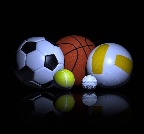 sport palloni rendering 3d - set tennis o pallavolo foto e immagini stock