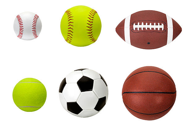 sports balls - baseball, softball, football, tennis, soccer, basketball stock photo