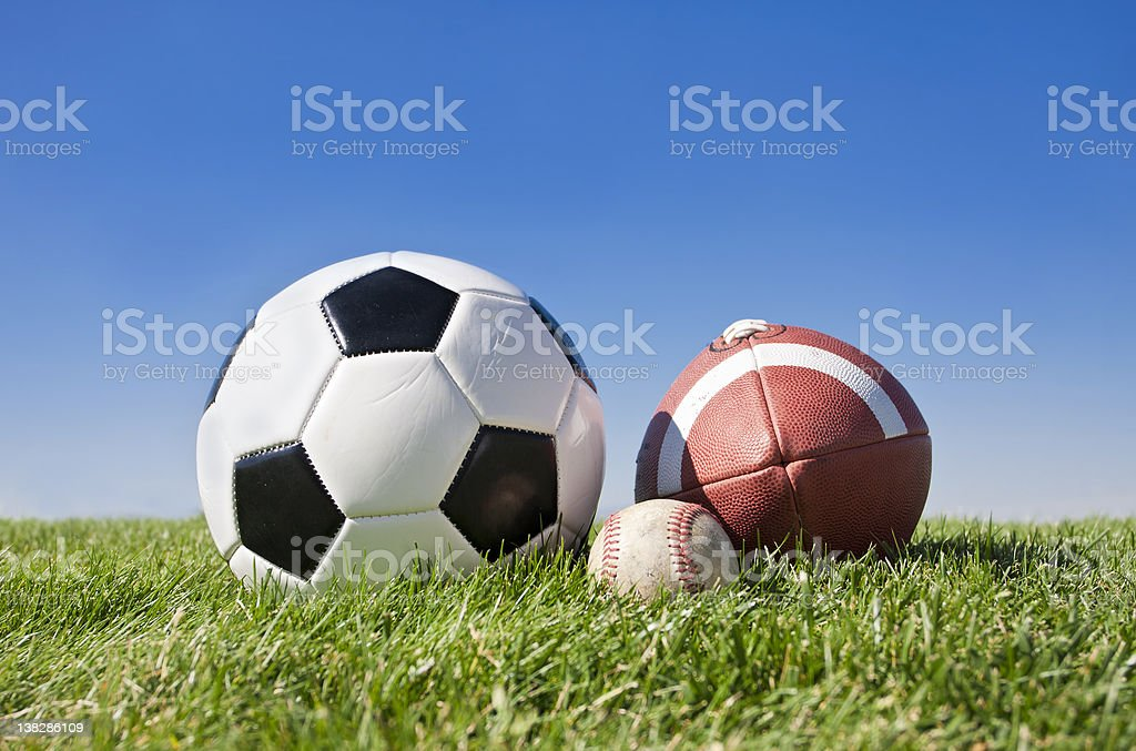 A collection of popular outdoor sports balls on a simple grass...