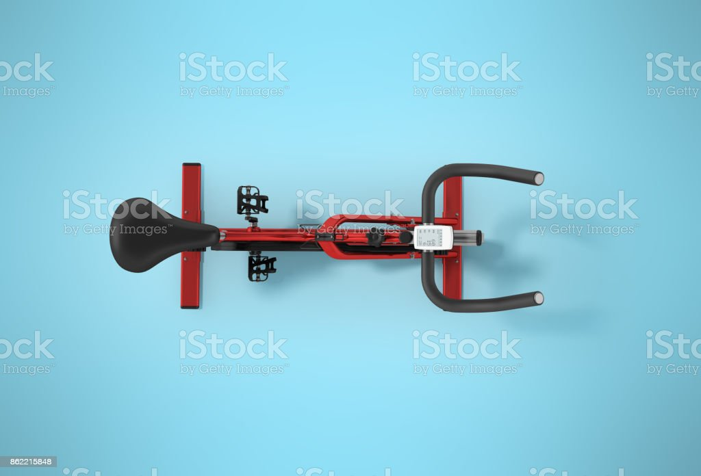 Sports bikes home from above red 3d render on white background stock photo