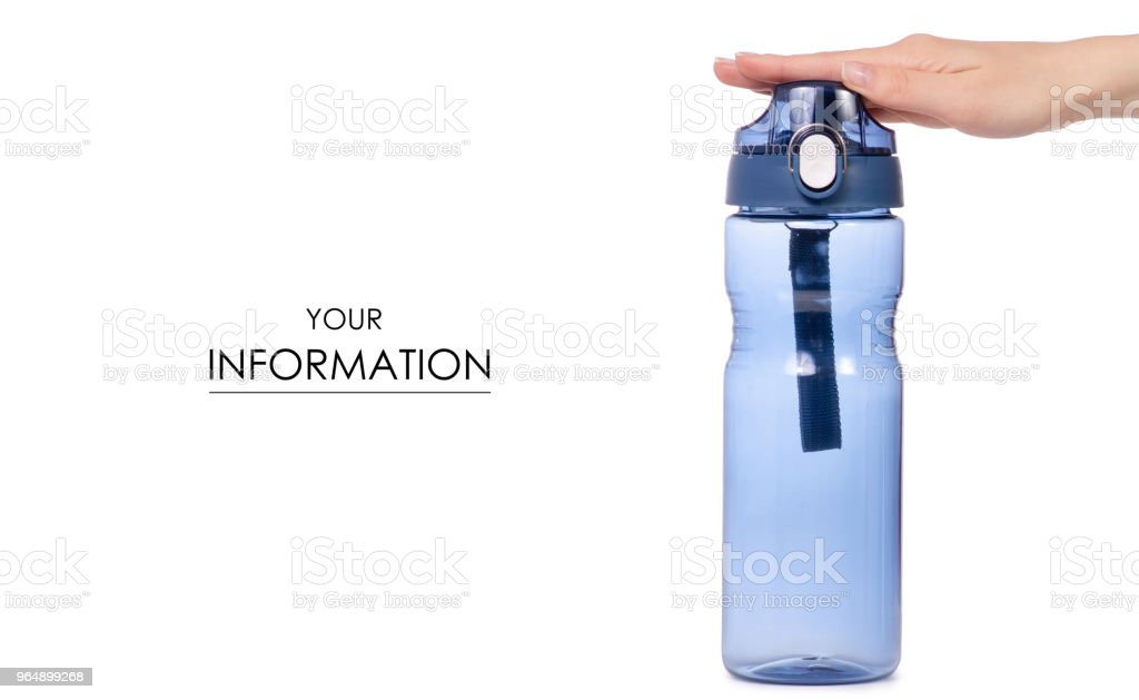 Sports bottle blue in hand pattern - Royalty-free Adult Stock Photo