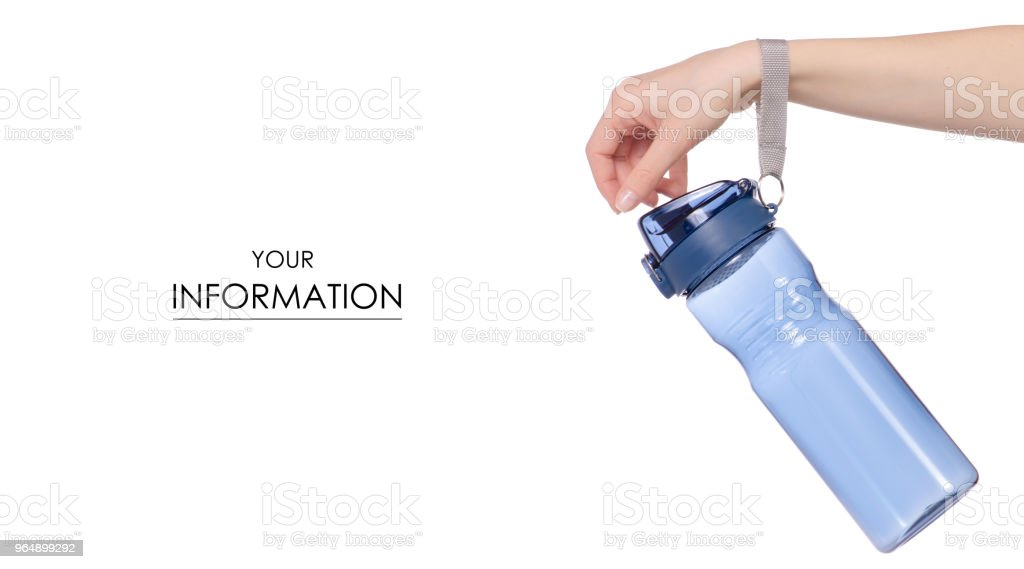 Sports bottle blue in hand pattern royalty-free stock photo