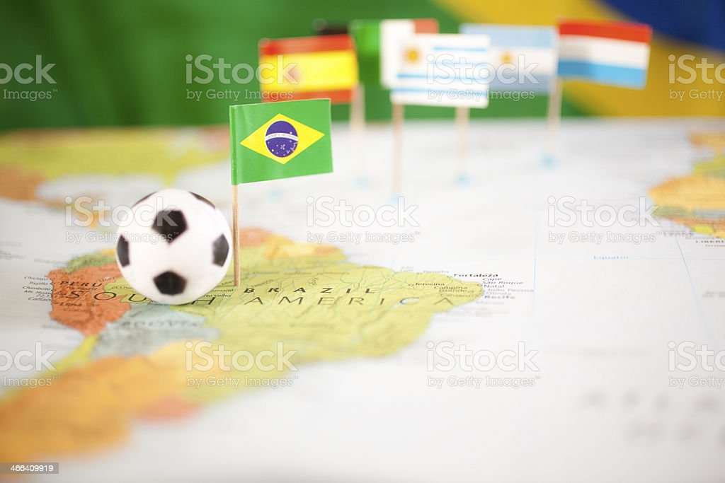 Sports: Brazil.  Map, soccer ball, flag. royalty-free stock photo