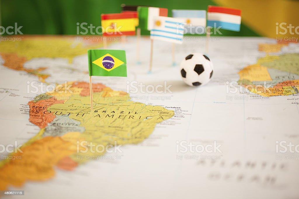 Sports: Brazil.  Map, soccer ball, flags. stock photo