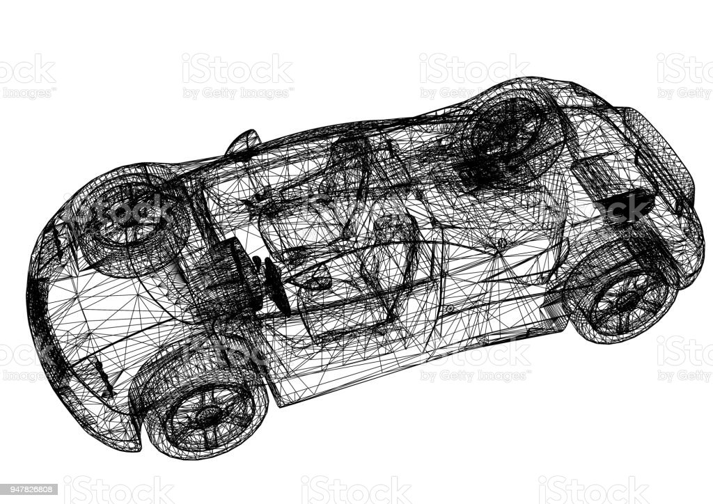 Sports Car 3d Blueprint Isolated Stock Photo - Download