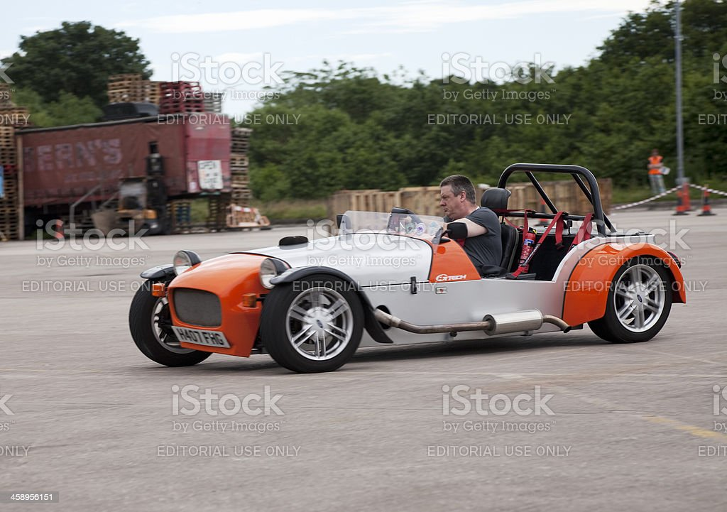 Sports car at autocross rally event stock photo