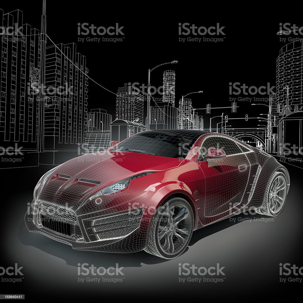 Sports car blueprint in red and black stock photo