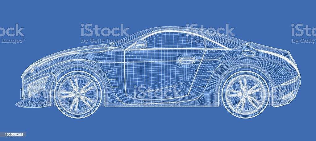 Sports car blueprint. stock photo