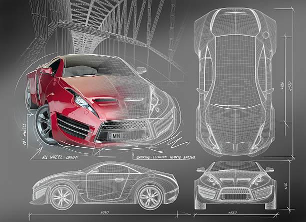 Sports car blueprints Non branded concept car. concept car stock pictures, royalty-free photos & images
