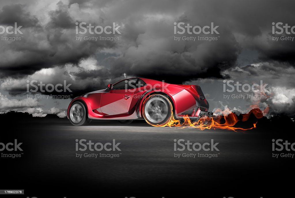 Sports car burnout stock photo