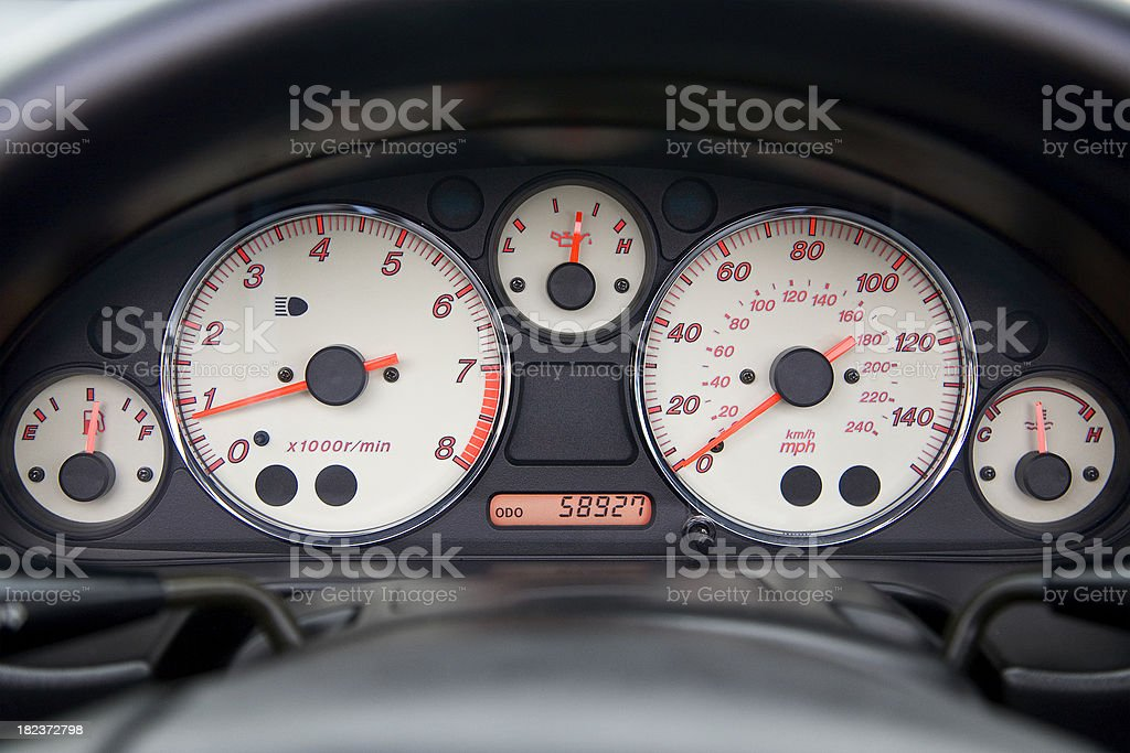 Sports car dashboard rev counter and speedometer stock photo