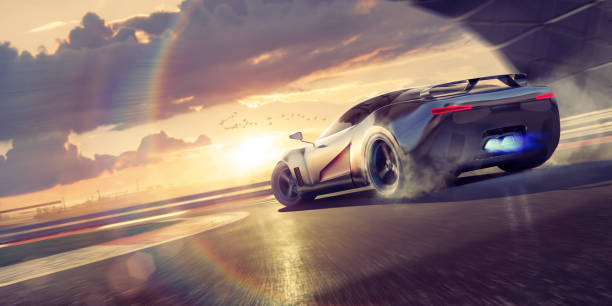 Sports Car Drifting Round Racetrack Bend At Sunset A stylized image of a fictional sports car drifting round bend with smoke coming from tyres as the supercar wheelspins around the corner of a racetrack. The sports car also has blue flames coming from it's exhaust and is driving around a track during a dramatic evening sunset. sports car stock pictures, royalty-free photos & images
