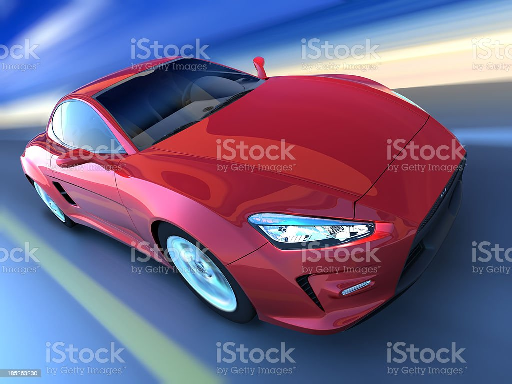 Sports car driving along beach, clipping path included royalty-free stock photo