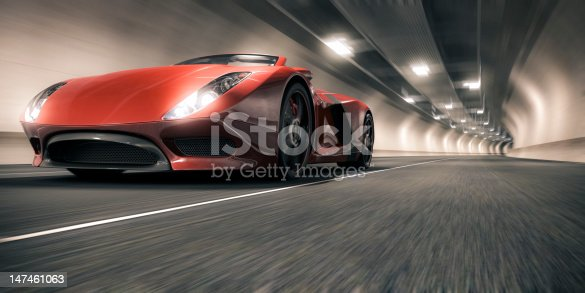A red sports car speeding through a tunnel. This car is designed and modelled by myself. Very high resolution 3D render. All markings are ficticious.
