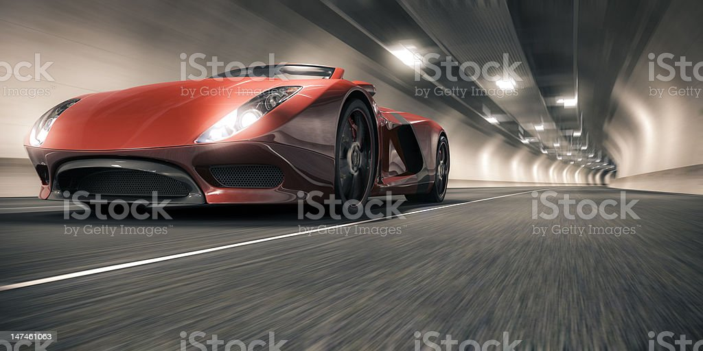 Sports Car in a Tunnel stock photo