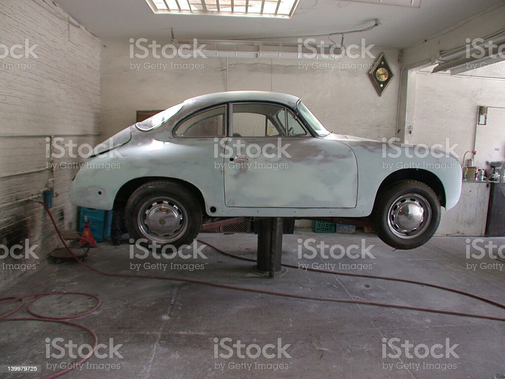 Sports Car in Garage royalty-free stock photo