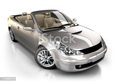 Brandless, generic sports car in studio - isolated on white with clipping path