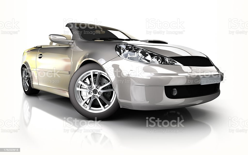 Sports car in studio - isolated on white/clipping path royalty-free stock photo