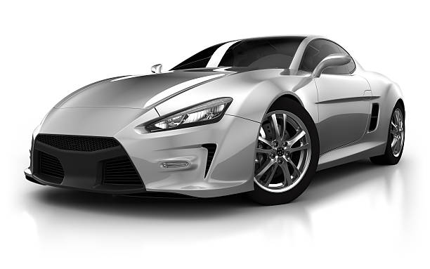 Sports car in studio - isolated on white/clipping path