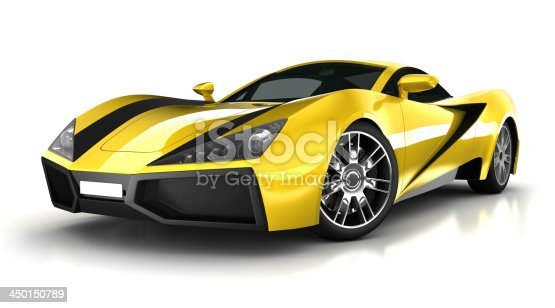 Unique 3d modelled brandless, generic sports car in studio - isolated on white with clipping path