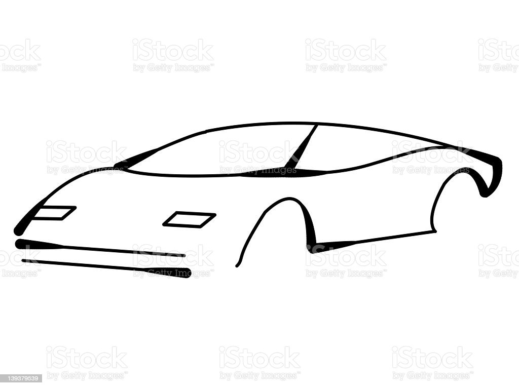 Sports car line art royalty-free stock photo