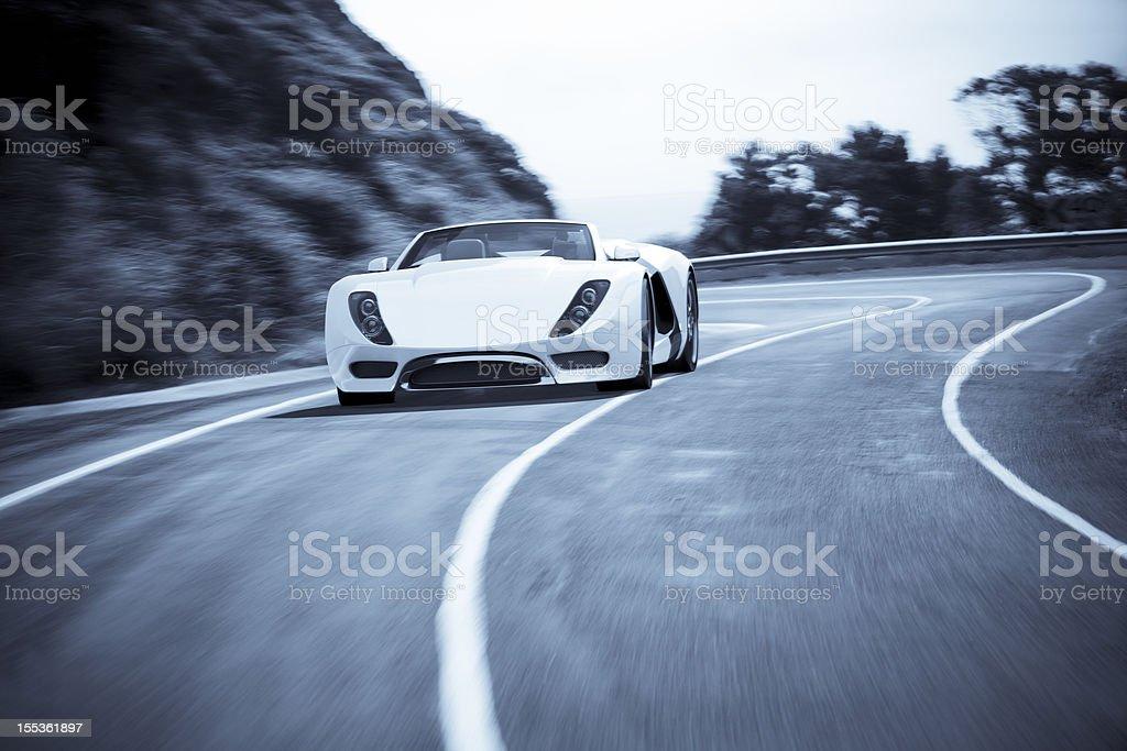 Sports Car on a Coastal Road stock photo