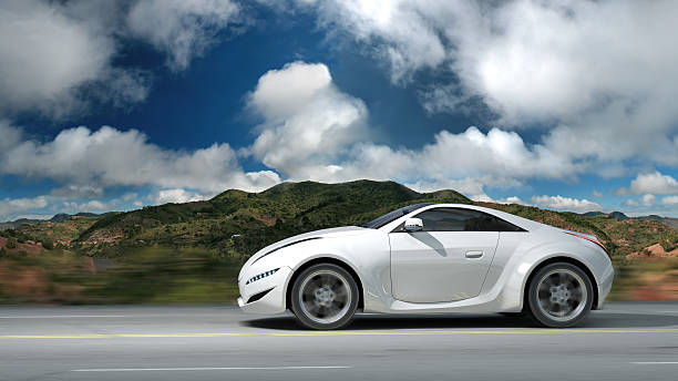Sports car on a road stock photo