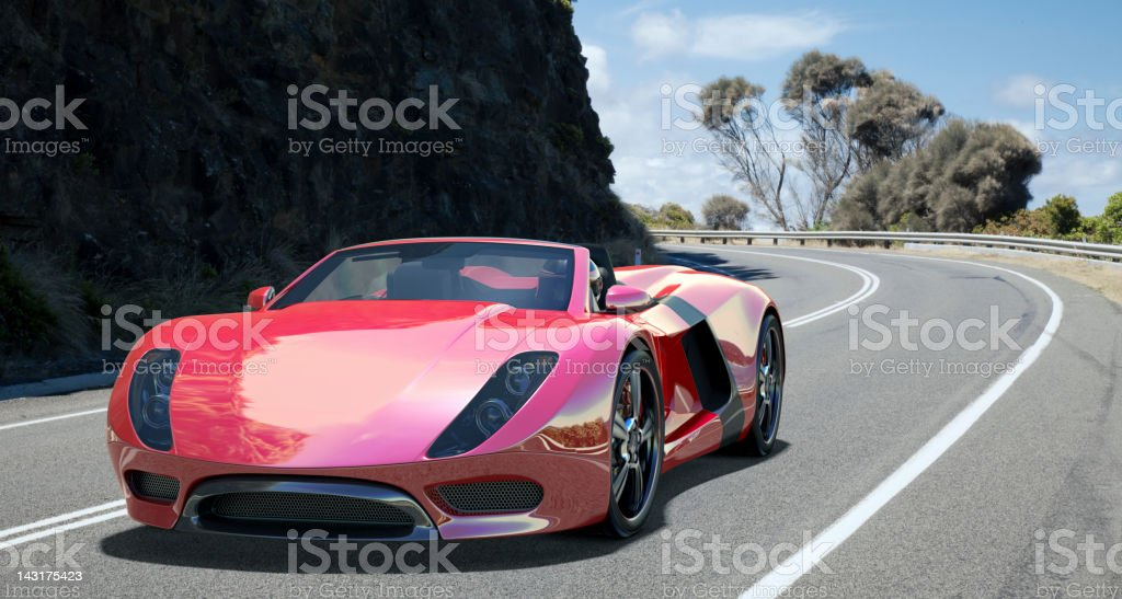 Sports Car on Coastal Road. stock photo