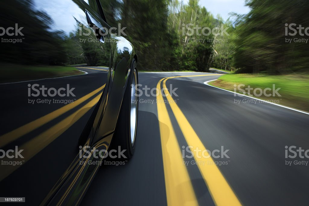 Sports car on country road. stock photo