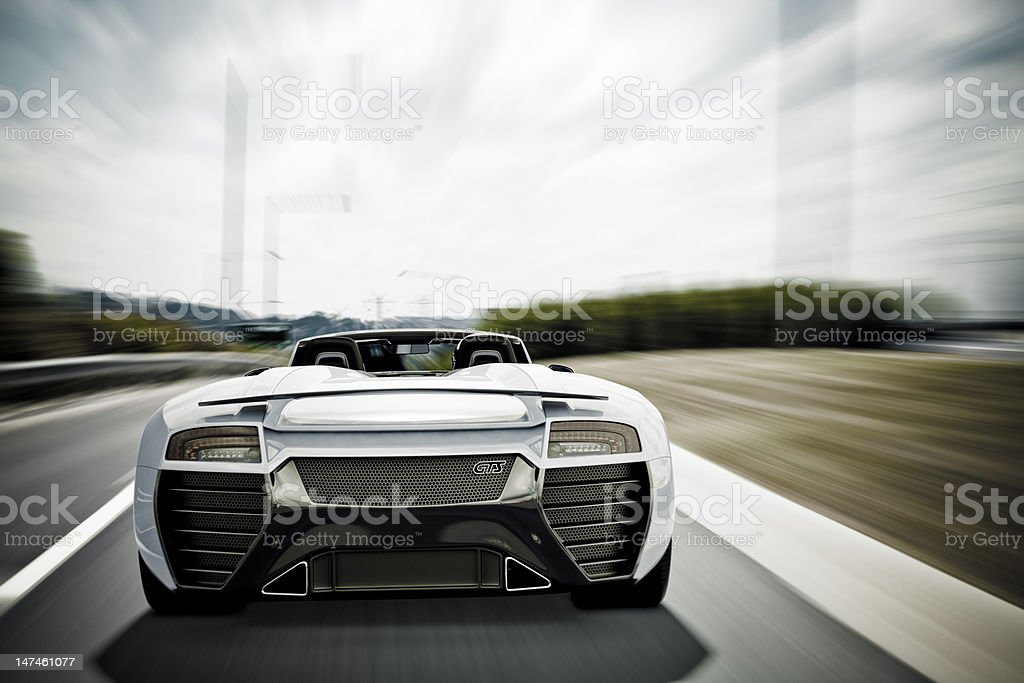 Sports Car on Highway stock photo