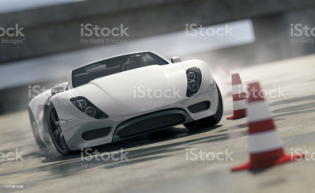 Sports Car on Test Track stock photo