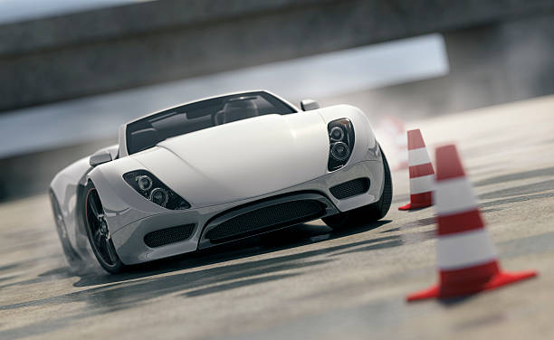 Sports Car on Test Track Putting a white sports car through its paces on a tight obstacle course. This car is designed and modelled by myself. Very high resolution 3D render composite. All markings are ficticious. status symbol stock pictures, royalty-free photos & images