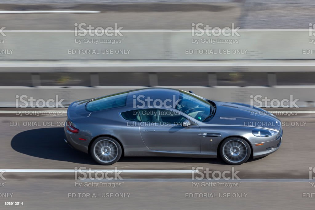 Sports car on the highway stock photo
