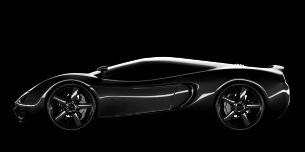 Sports Car A black sports car on a black background. My own unique car design. Very high resolution 3D render. luxury car stock pictures, royalty-free photos & images