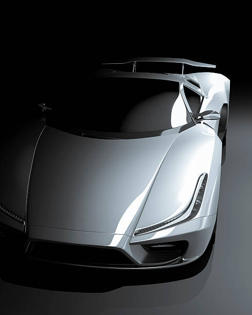 Sports Car View of a sleek sports car against a dark background. This car is designed and modelled by myself. Very high resolution 3D render. All markings are ficticiuos. status symbol stock pictures, royalty-free photos & images
