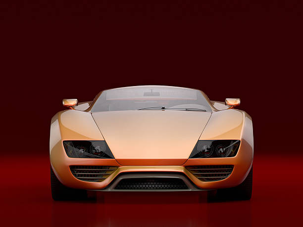 Sports Car Front view on orange sports car against a red background. This car is designed and modelled by myself. Very high resolution 3D render. status symbol stock pictures, royalty-free photos & images