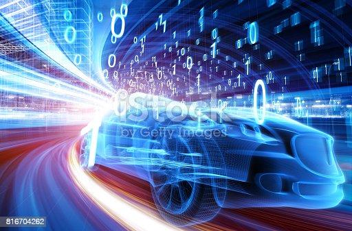 849624154 istock photo Sports Car speeding in Urban highway 816704262